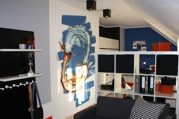 Wandgestaltung Graffiti Innenraumgestaltung Spruehkopf De